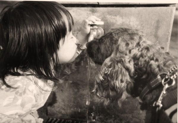 水道と娘と犬
