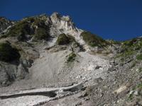 岳 白馬岳 大雪渓上端と天狗の頭 100925_cIMG_3271