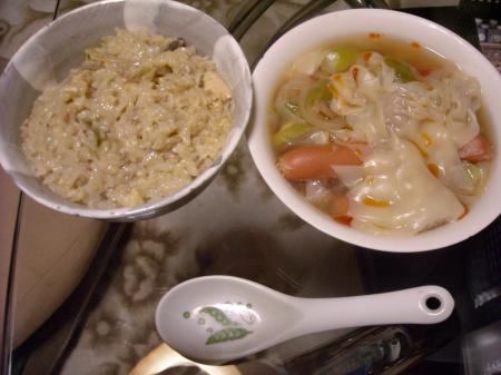 雑炊&ワンタン入りポトフ