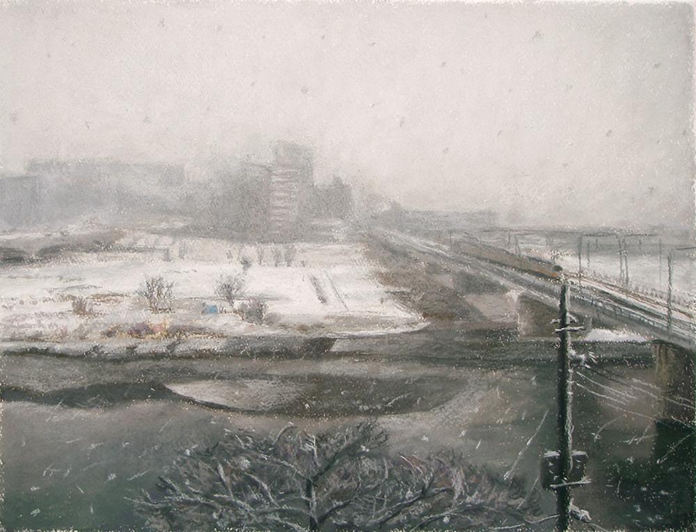 多摩川、薄雪