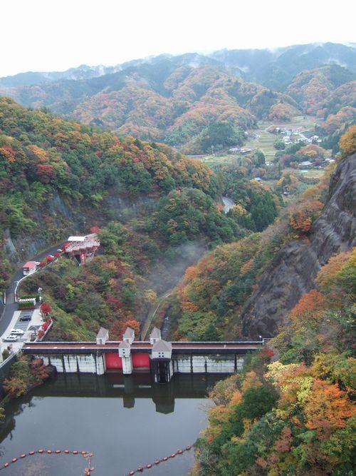 竜神大吊り橋から見下ろす竜神ダム