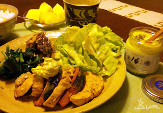 Apr07_鶏酒蒸しのアボガドわさびマヨネーズ添え
