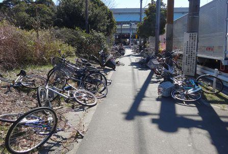 風で倒れた自転車