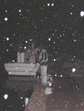 雪の高島漁港