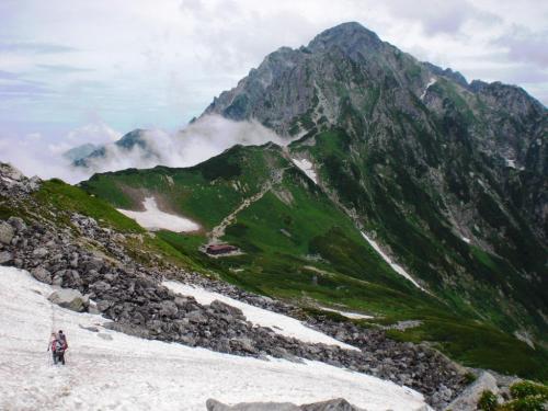 雪渓と剱岳