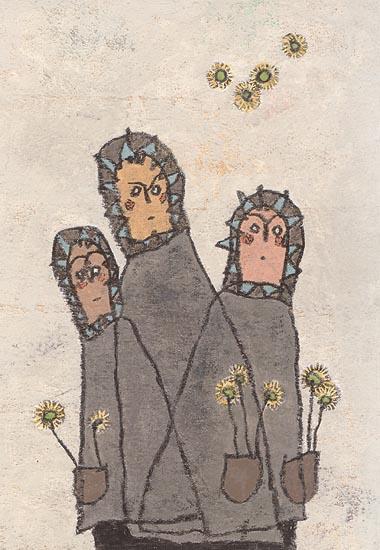 綿毛と3人の子