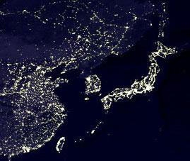 東アジアの夜景