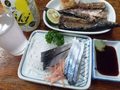 130923あづま食堂さんま350円きずし300円チューハイ300円