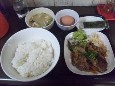 131114なかま豚生姜炒めハーフ320円にたま定280円