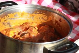 デイキャンプ お料理 鶏肉のトマト煮込み