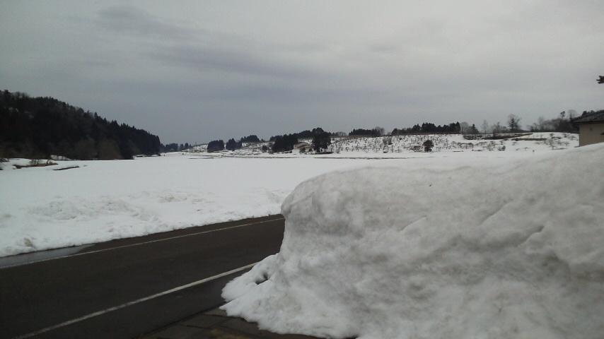 自宅前雪20120317