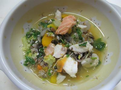 鮭と鱸の紅白スープ