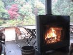 紅葉と暖炉