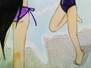 浜辺を走る帝&椿