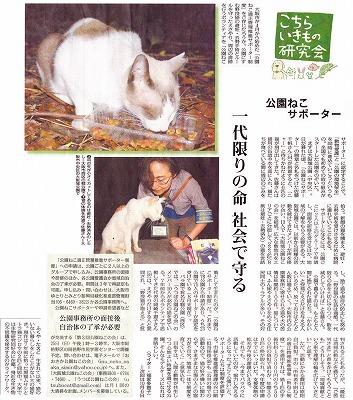 公園ねこサポ毎日夕刊20110908