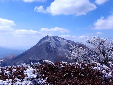 山頂の霧氷と由布岳3P1011463