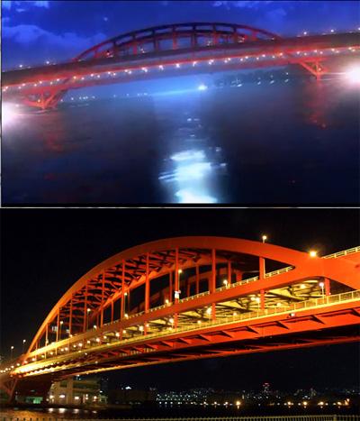㊤冬木大橋 ㊦神戸大橋