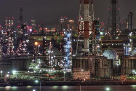 堺泉北臨海工業地帯の遠景夜景