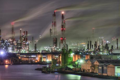堺泉北臨海工業地帯遠景