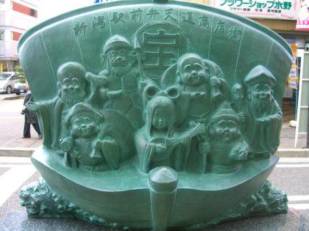 弁天通商店街の七福神ブロンズ像200912