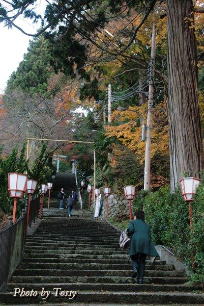温泉神社への石段