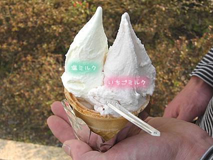 アンナガーデン モンジュー ダブルコーン(塩ミルク、いちごミルク)(400円)