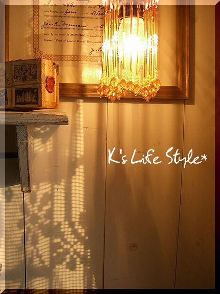 ランプシェードと夕日
