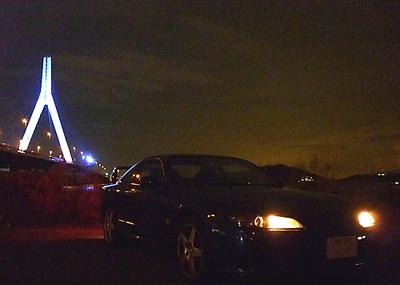青く輝く芦田川大橋と我が愛車S15