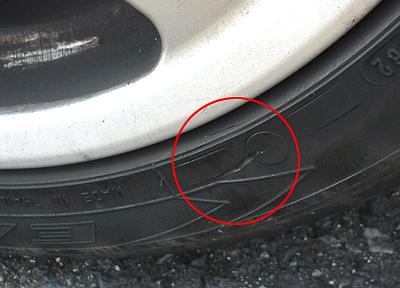 タイヤに亀裂