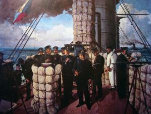 連合艦隊旗艦三笠の艦橋で指揮をとる東郷