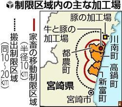 加工工場と制限区域の略図(読売引用)
