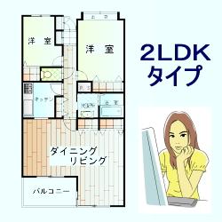 2LDKタイプのマンション