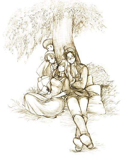 【ヘタリア】木陰のエリザベータとローデリヒ-線画-