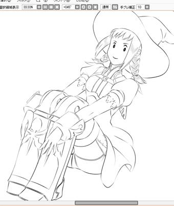 【FF12】黒魔パンネロたん線画