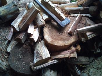 梅雨空の下薪を割る