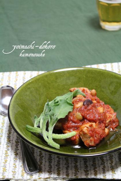 トマト煮・豆と豚