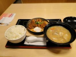 チキン味噌カツ卵とじ定食