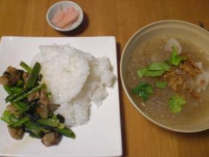 豚バラなん骨と小松菜のオイスターソース炒め