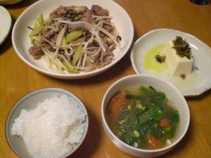 牛バラ肉・セロリ・モヤシの塩昆布炒め
