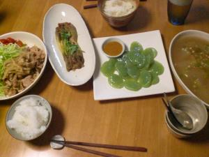 豚生姜焼き・冬瓜のスープ他