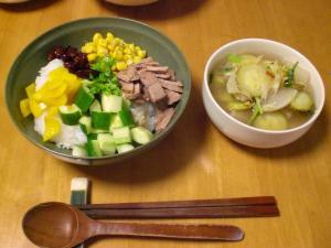 五目のせゴハン、ゴーヤと大根のスープ