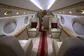 愛犬同伴のハワイ旅行で使われる米ガルフストリーム社の最新型ジェット機。世界中の著名人に愛用されている(エクセル航空提供)