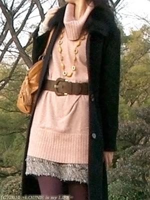 LOUNIE(ルーニィ)通販:ルーニィ2009秋冬物:ピンクのニットワンピースで大阪城