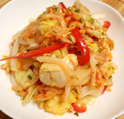 白身魚のキムチサラダ10
