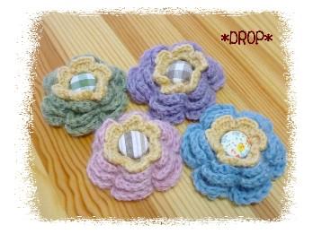 編み お花ブローチ