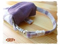 紫リネン デジカメケース タブ