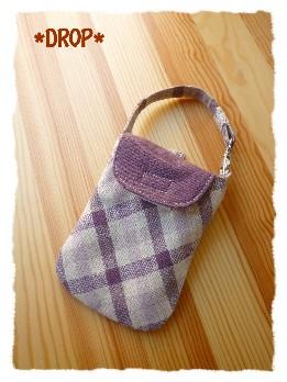 紫リネン デジカメケース2