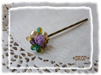 ヘアピン 紫のバラ