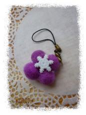 羊毛ボール ストラップ 紫