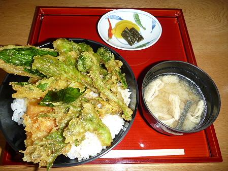 松川荘 いわなと山菜天丼05(2011.5.15)